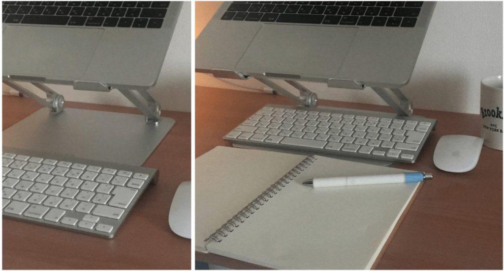 boyataノートパソコンスタンドの下にキーボードを収納
